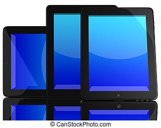 écran bleu, ordinateurs, groupe, tablette