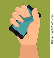 écran bleu, smartphone, tenant main