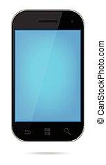 écran bleu, téléphone, mobile