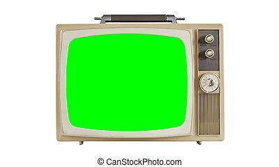 écran, chroma, vendange, vert, tã©lã©viseur