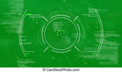écran, cibler, système, vert