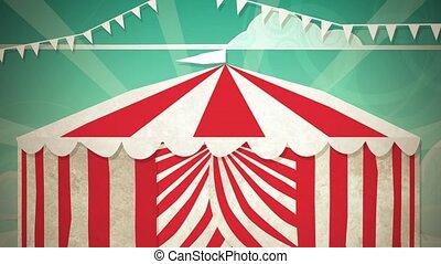 écran, cirque, vert, entrée, tente
