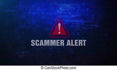 écran, clignotant, alerte, scammer, message erreur, avertissement
