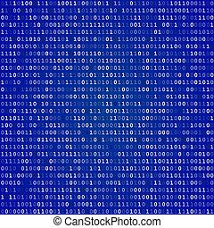écran, code, bleu, binaire
