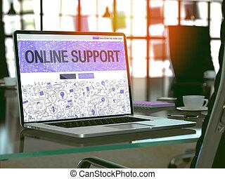écran, concept., ordinateur portable, soutien, ligne