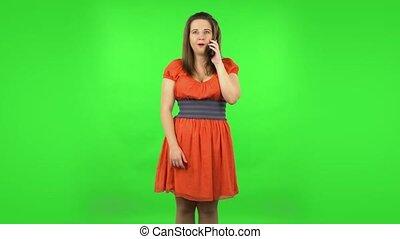 écran, conversation, rejoice., vert, très, téléphone, girl, ...