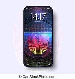 écran, doigt, plat, smartphone, exposer, empreinte doigt, téléphone, screen., app, conception, balayage, intelligent, concept, accès, ui., futuriste, fingerprint.