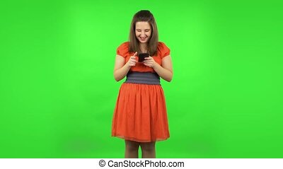 écran, elle, vert, girl, téléphone., mignon, texting
