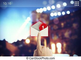 écran, email