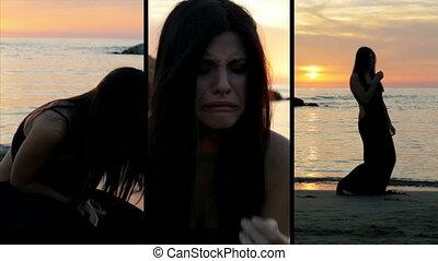 écran, femme, désespéré, pleurer, fente