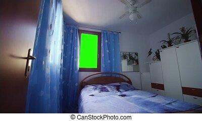 écran, fenêtre, vert, chambre à coucher, instead