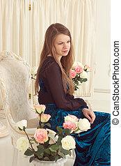 écran, fleurs, robe, girl