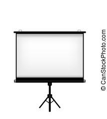 écran, fond blanc, projecteur