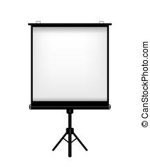 écran, fond blanc, projecteur, illustration