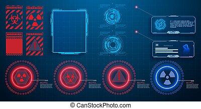 écran, game., set., interface, élevé, éléments, hud, technologie, utilisateur, vidéo, ui, gui, futuriste