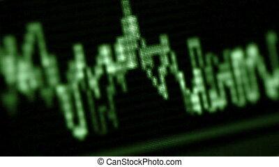 écran, gros plan, oscilloscope