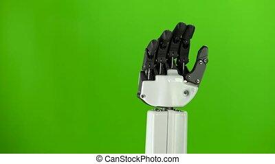 écran, haut, robot, onduler, salut, vert, fin, main