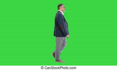 écran, homme affaires, marche, personne agee, vert, chroma, en avant!, key.