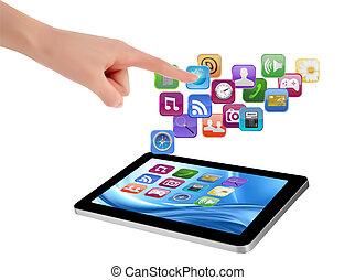 écran, il, main, pc, toucher, vecteur, tampon, doigt, tenue, toucher, pc.