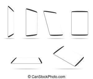 écran, informatique, blanc, tablette, vide