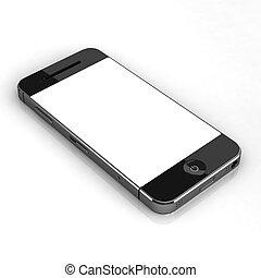 écran, isolé, coutume, téléphone, vide, intelligent