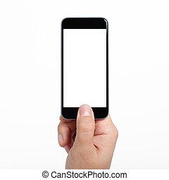 écran, isolé, main, téléphone, tenue, blanc, homme