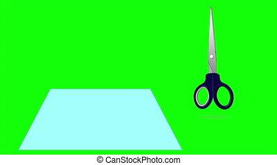 écran, isolé, papier, découpage, vert, ciseaux