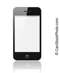 écran, isolé, téléphone, fond, vide, blanc, intelligent