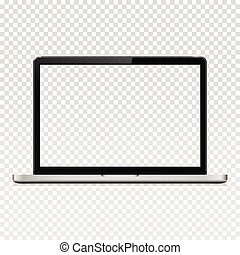 écran, isolé, transparent, informatique, fond, ordinateur portable