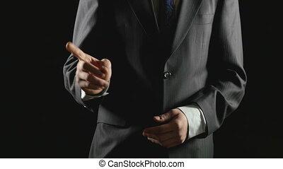 écran, jeune, main, gestes, homme affaires, confection, transparent