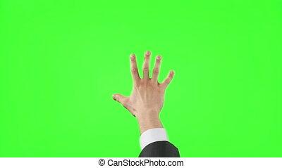 écran, jeune, main, gestes, vert, homme affaires, confection