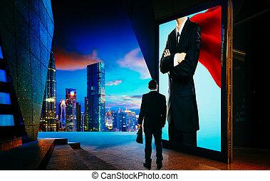 écran, jeune, publicité, regarder, homme affaires, panneau ...