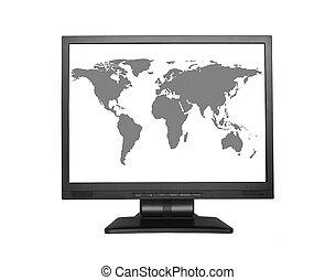 écran large, lcd, planisphère
