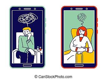 écran, ligne fixe, vecteur, concept., helpline, ligne, femme, smartphone, psychologique, consultant, homme, art, illustration, enchevêtré, lointain, pensées, dessin animé, consultation, déprimé, psychologue
