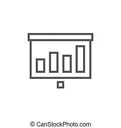 écran, ligne, icon., rouleau, projecteur
