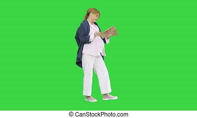 écran, lire magazine, femme enceinte, key., blond, vert, ...