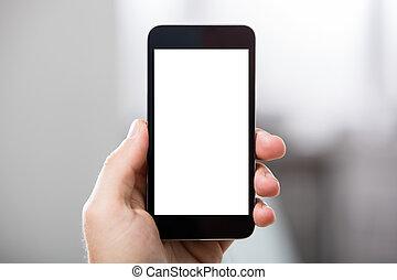écran, main, téléphone portable, tenue, vide