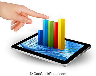 écran, main, tablette, graphique