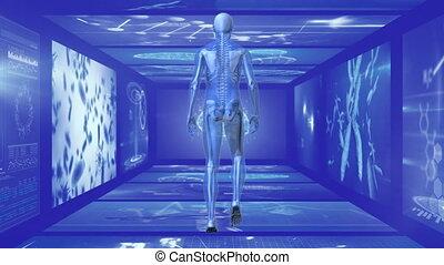 écran, marche, homme, couloir, arrière affichage, ...