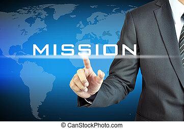 écran, mission, virtuel, signe, toucher, homme affaires, main