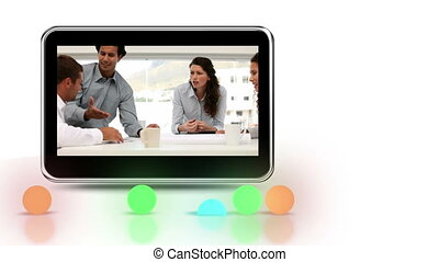 écran, mobile, montré, discussions