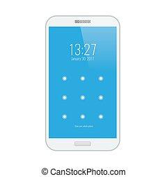 écran, moderne, lock., interface utilisateur, blanc, smartphone.