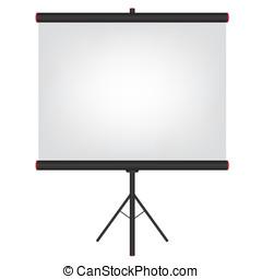 écran, noir, projecteur, illustration