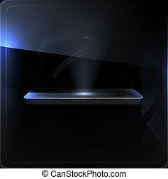 écran, noir, vide, étagère