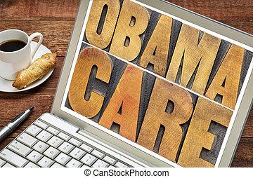écran, obamacare, ordinateur portable, typographie