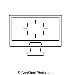 écran ordinateur, jeu, étiquette, ligne mince