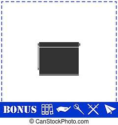 écran plat visualisation, projecteur, rouleau, icône