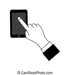 écran plat visualisation, style., doigt, téléphone