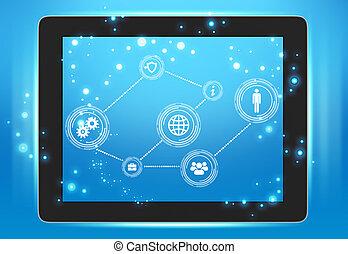 écran, points, relié ensemble, tablette, icônes