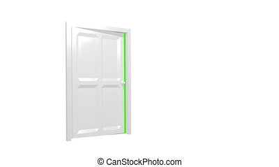 écran, porte, vert